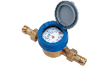 Water meter model with wet dial