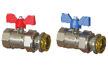 Progress straight ball valves kit female-revolving nut with butterfly handle