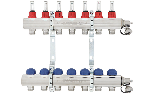 Pre-assembled distribution manifolds takeoffs 24x19 with lockshields with flow meters