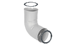90° elbow, made of polyethylene for direct coupling on the flexible pipe with 2 o-rings